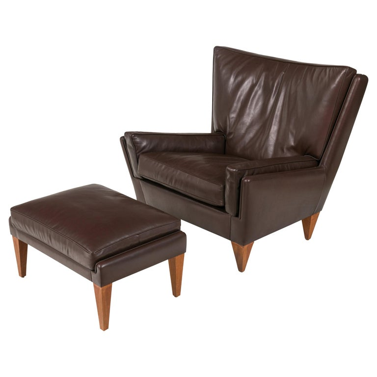 Scandinavian Modern Style Lounge Chair and Ottoman by Lost City Arts For Sale