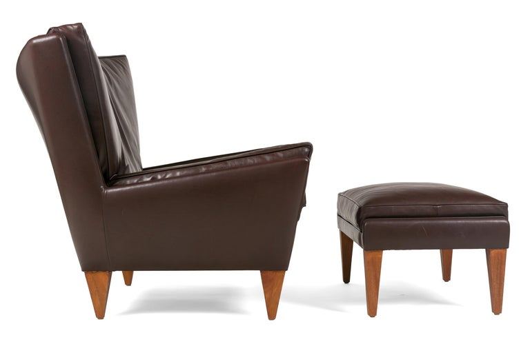 American Scandinavian Modern Style Lounge Chair and Ottoman by Lost City Arts For Sale