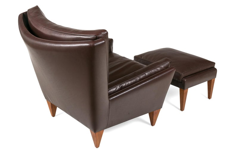 Scandinavian Modern Style Lounge Chair and Ottoman by Lost City Arts In Excellent Condition For Sale In New York, NY