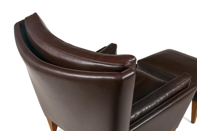 Leather Scandinavian Modern Style Lounge Chair and Ottoman by Lost City Arts For Sale