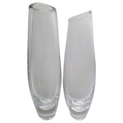 Scandinavian Modern, Sven Palmquist for Orrefors Pair Clear Glass Vases, Sweden