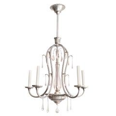 Scandinavian Modern, Swedish Art-Deco 5-Arm Chandelier