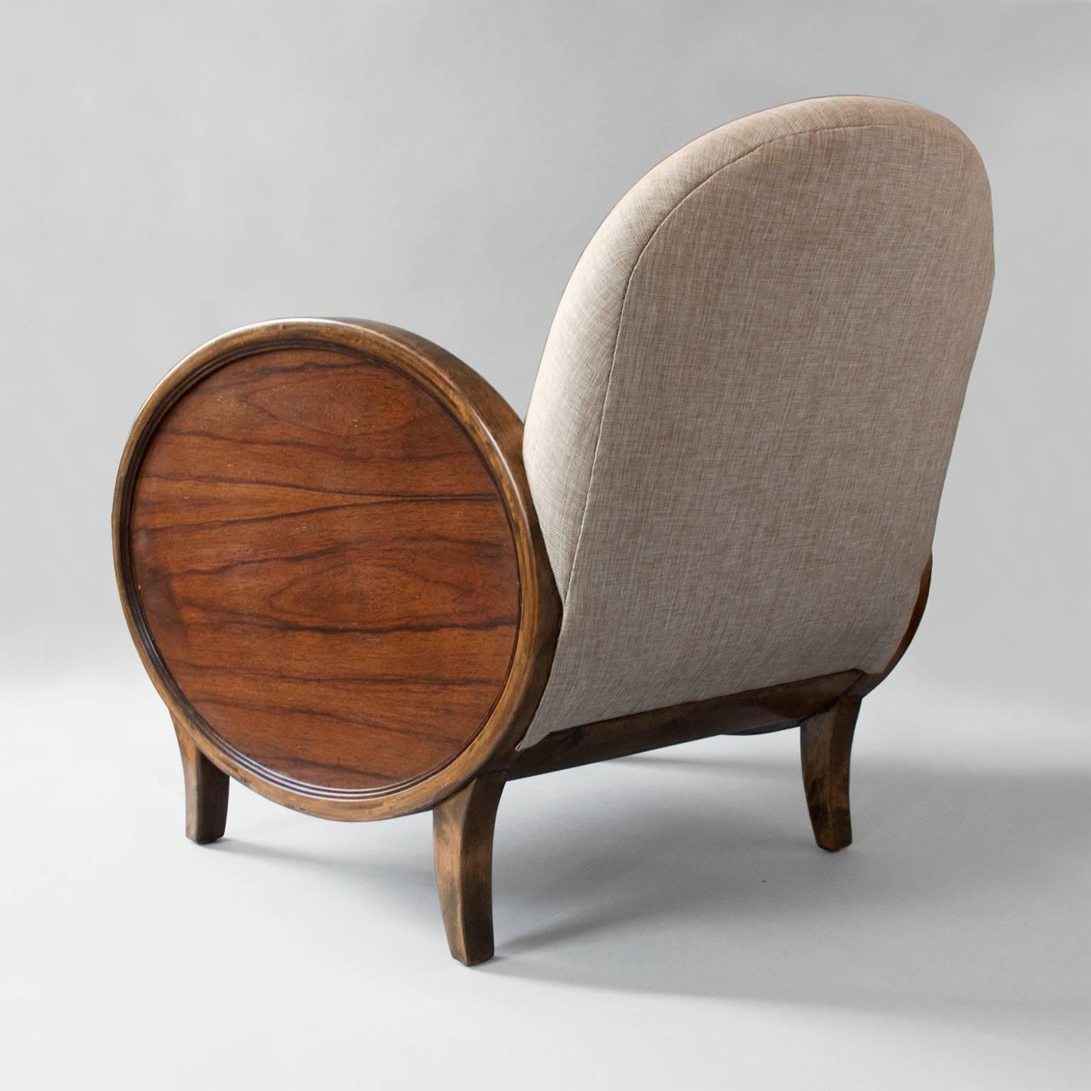 20th Century Scandinavian Modern Swedish Art Deco Chairs With Oval Rosewood  Panels For Sale