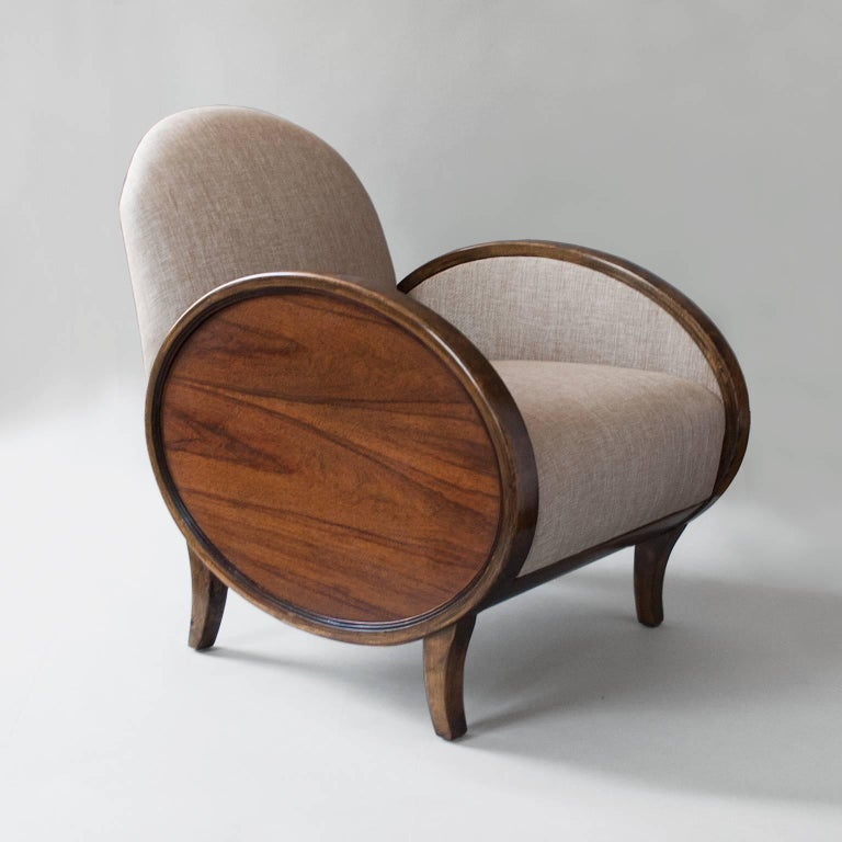 Birch Scandinavian Modern Swedish Art Deco Chairs With Oval Rosewood Panels For