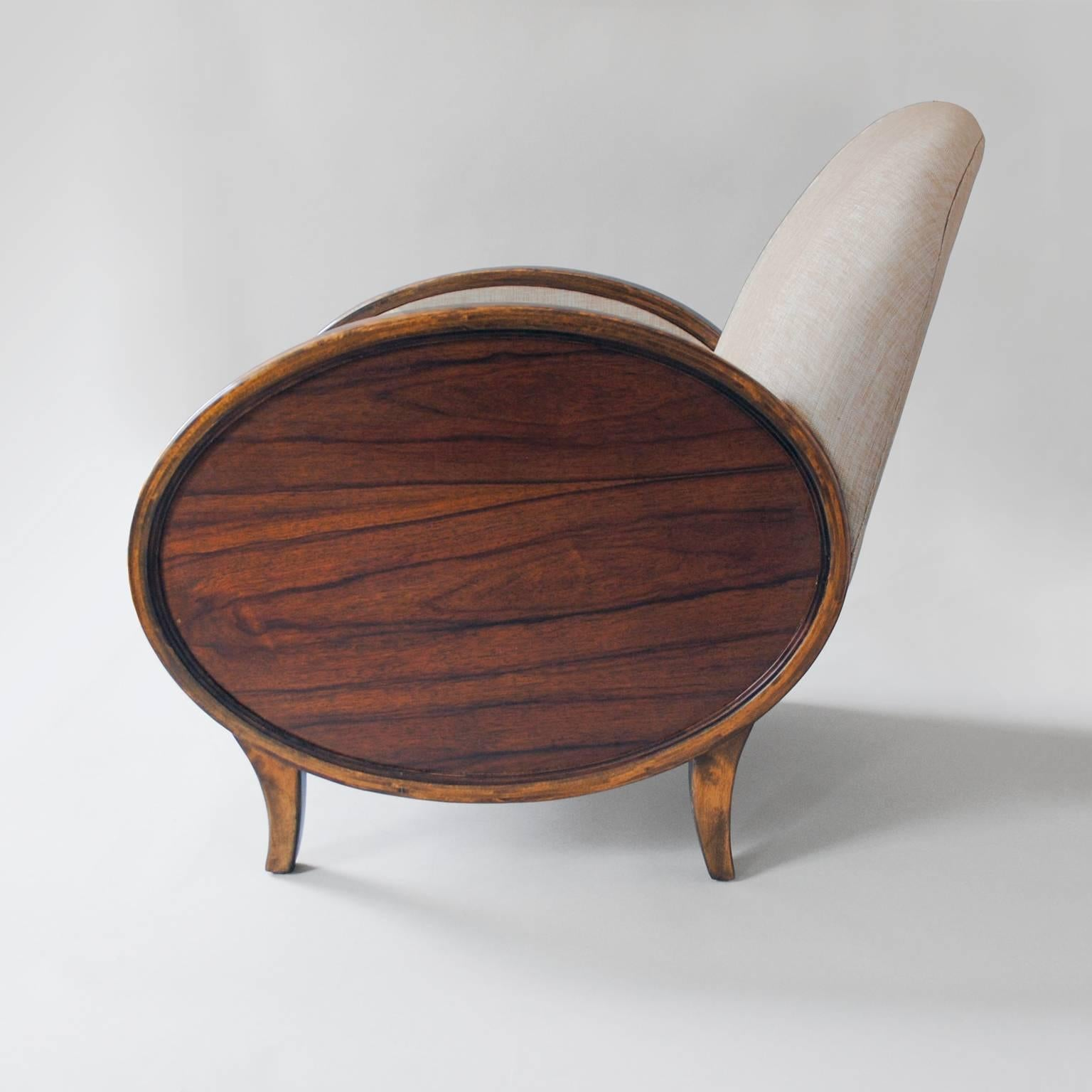 Charmant Scandinavian Modern Swedish Art Deco Chairs With Oval Rosewood Panels For  Sale 1