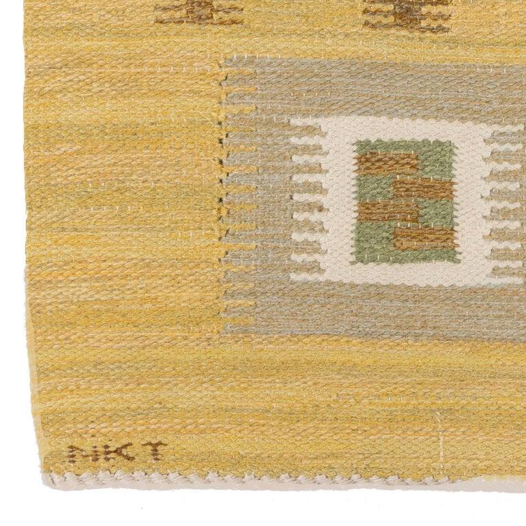 Hand-Woven Scandinavian Modern Swedish Kilim Rug, Signed Nkt For Sale
