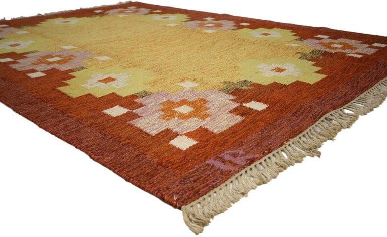 Hand-Woven Scandinavian Modern Swedish Rollakan Kilim by Ida Rydelius, Flatweave Kilim Rug For Sale