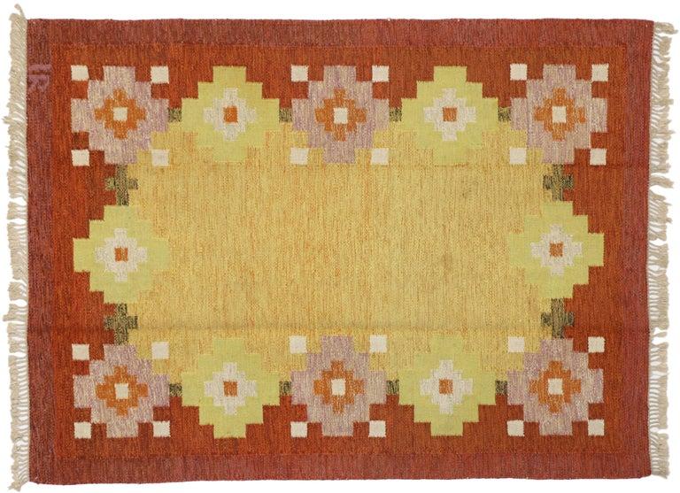 Wool Scandinavian Modern Swedish Rollakan Kilim by Ida Rydelius, Flatweave Kilim Rug For Sale
