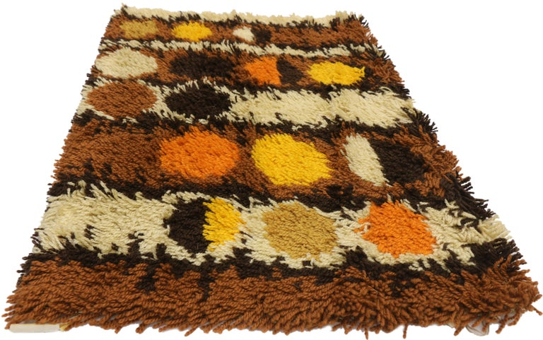Hand-Knotted Scandinavian Modern Swedish Vintage Ege Rya Shag Rug, Danish Design Tapestry For Sale