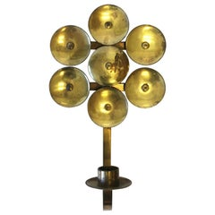 Scandinavian Modern Swedish Brass Wall Candle Sconce, ca. 1960s Sweden