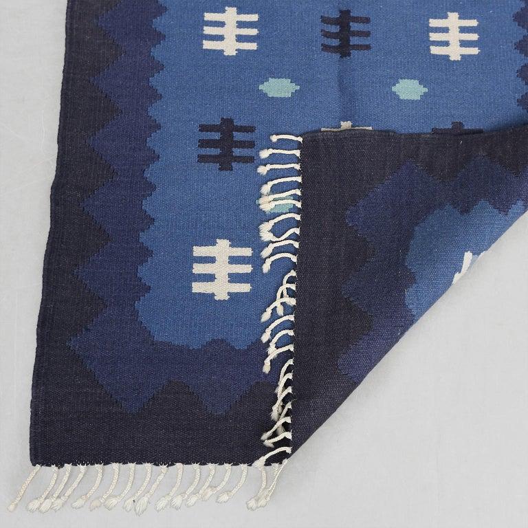 Hand-Woven Scandinavian Modern, Swedish Wool Flat-Weave Rug in Blues, Rollakan For Sale
