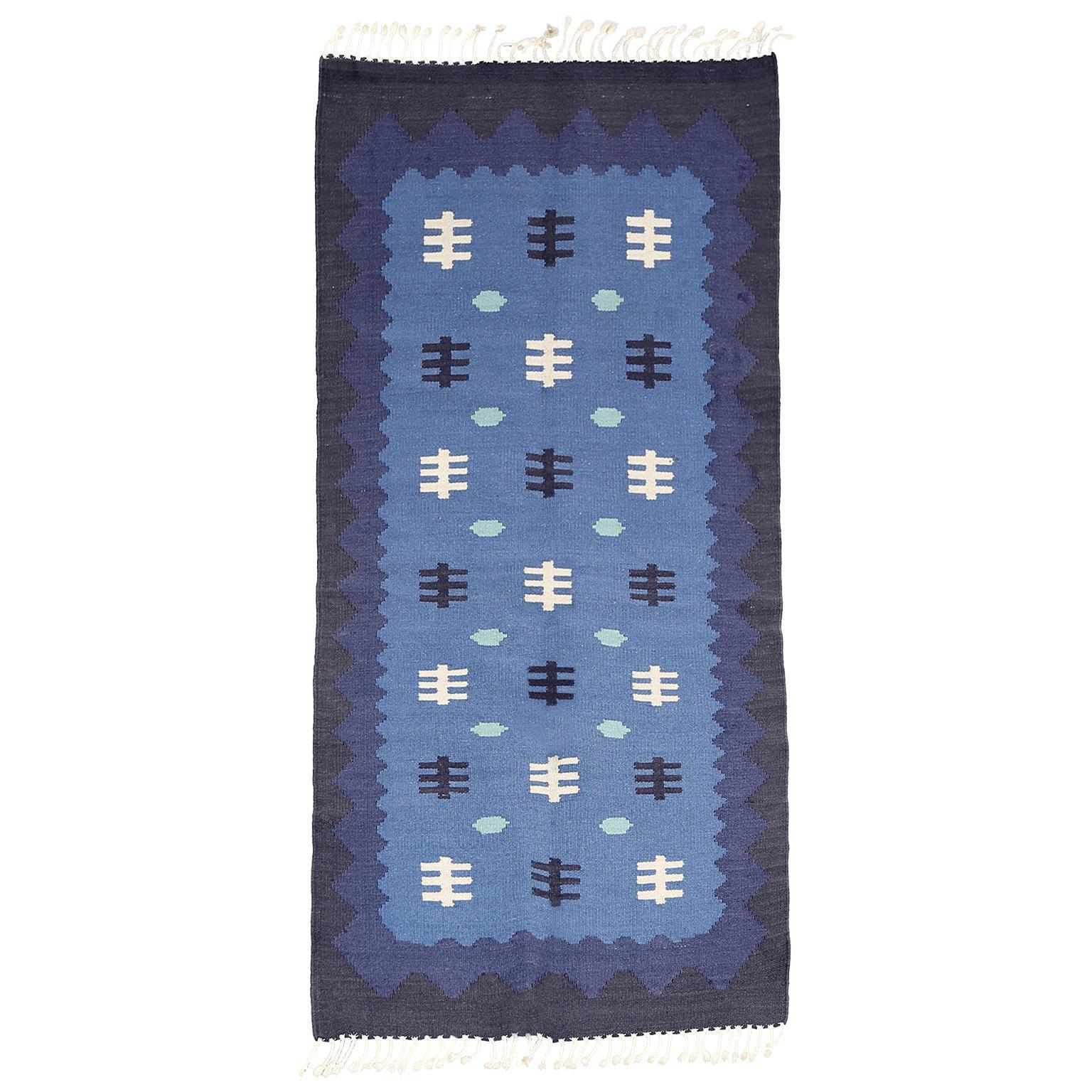 Scandinavian Modern, Swedish Wool Flat-Weave Rug in Blues, Rollakan