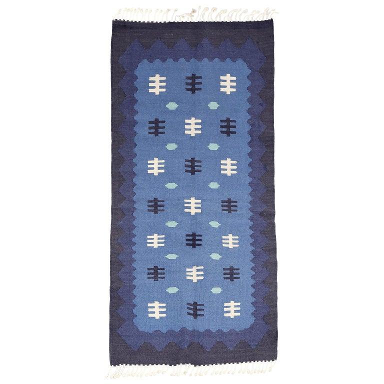 Scandinavian Modern, Swedish Wool Flat-Weave Rug in Blues, Rollakan For Sale