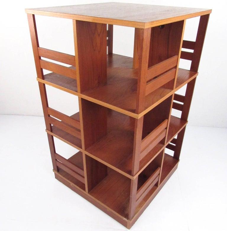 Danish Scandinavian Modern Swivel Bookshelf For Sale