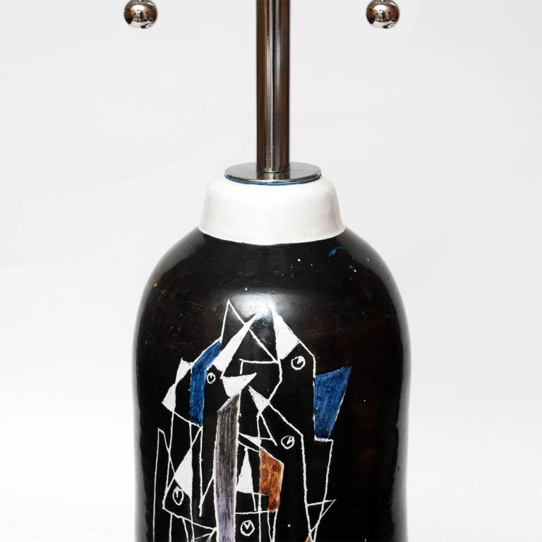 Scandinavian Modern tall ceramic lamp by Marian Zawadzki for Tilgman Keramik In Excellent Condition For Sale In New York, NY