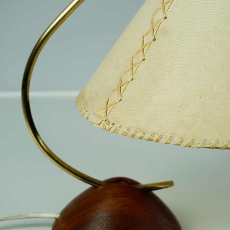 Scandinavian Modern Teak and Brass Table Lamp with Original Paper Shade For Sale 7