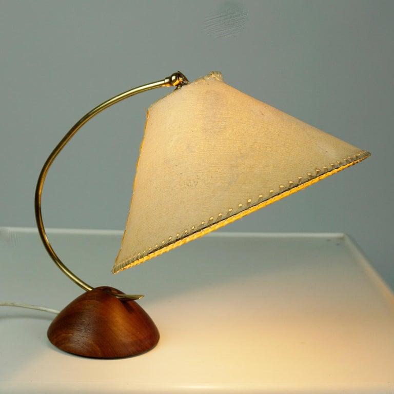 Danish Scandinavian Modern Teak and Brass Table Lamp with Original Paper Shade For Sale