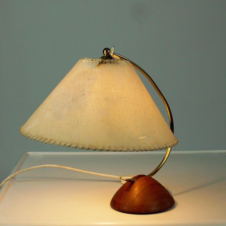 Turned Scandinavian Modern Teak and Brass Table Lamp with Original Paper Shade For Sale