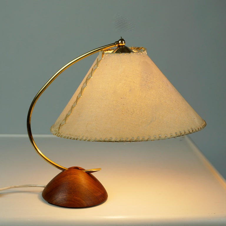 Scandinavian Modern Teak and Brass Table Lamp with Original Paper Shade In Good Condition For Sale In Vienna, AT