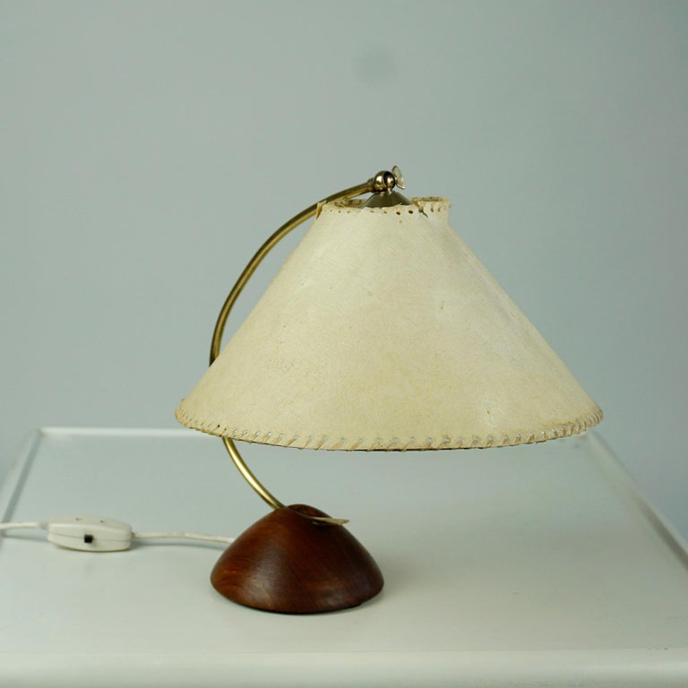 Scandinavian Modern Teak and Brass Table Lamp with Original Paper Shade For Sale 1