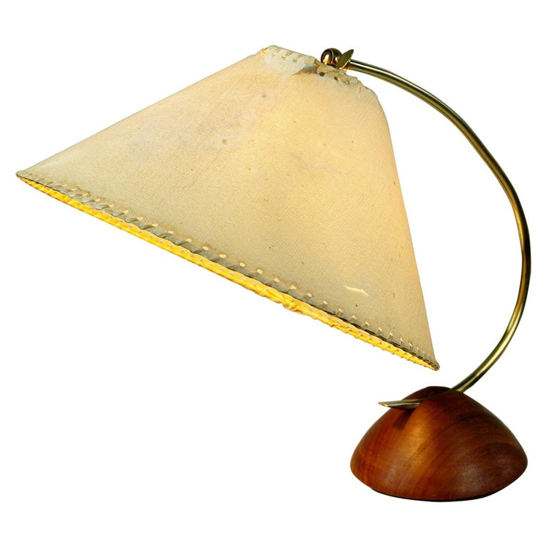 Scandinavian Modern Teak and Brass Table Lamp with Original Paper Shade For Sale