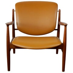 Scandinavian Modern Teak and Cognac Leather Lounge Chair by Finn Juhl
