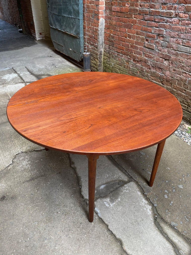Danish Scandinavian Modern Teak and Oak Dining Table For Sale