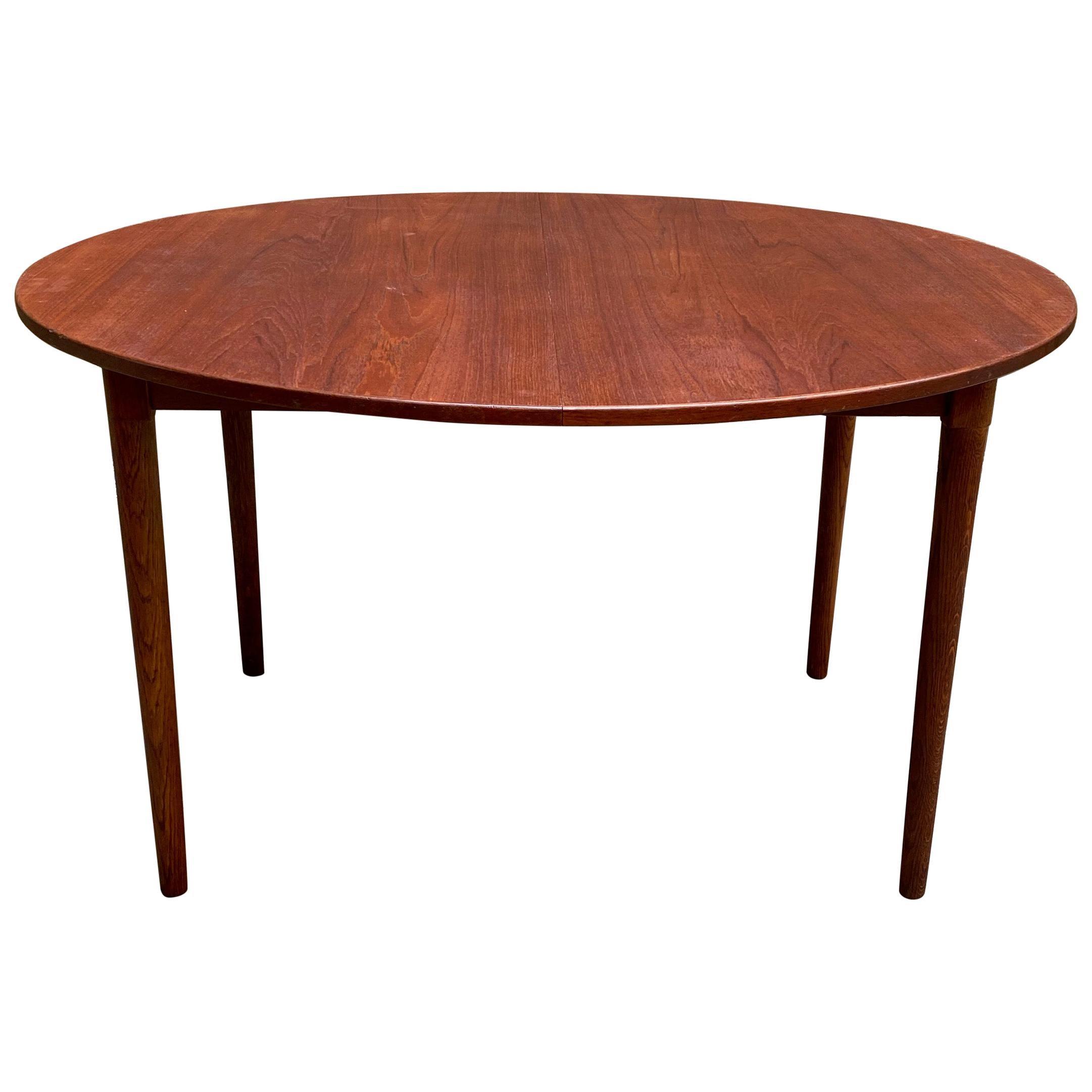 Scandinavian Modern Teak and Oak Dining Table