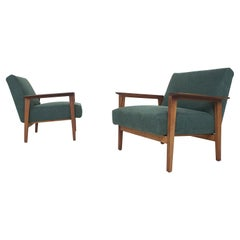Scandinavian Modern Teak Arm Chairs with New Green Upholstery, 1960's