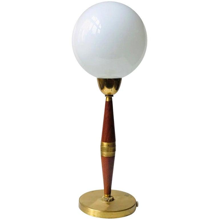Scandinavian Modern Teak, Brass and Cased Glass Table Lamp, 1960s For Sale