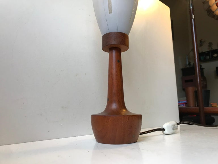 Mid-20th Century Scandinavian Modern Teak, Brass and Striped Glass Table Lamp, 1960s For Sale