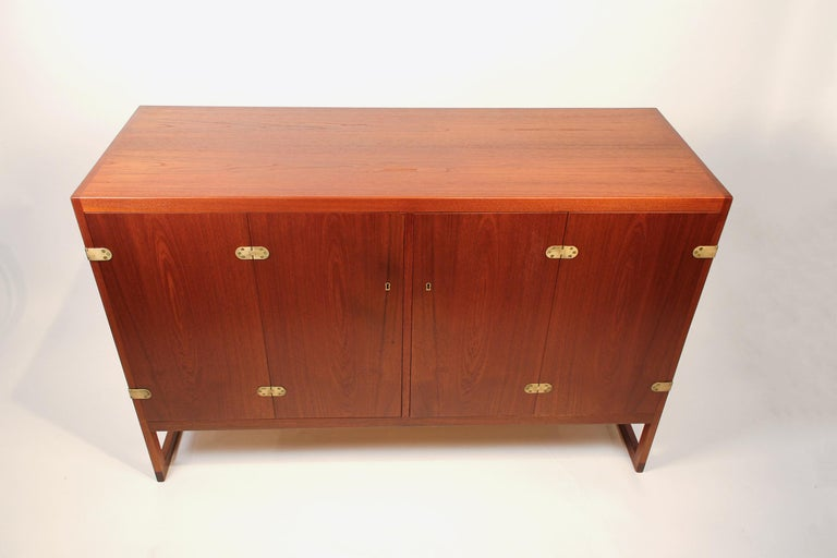 Danish Scandinavian Modern Teak Cabinet with Brass Hinges Designed by Borge Mogensen For Sale