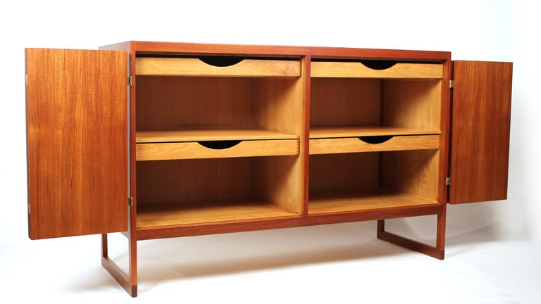 Scandinavian Modern Teak Cabinet with Brass Hinges Designed by Borge Mogensen In Excellent Condition For Sale In Dallas, TX