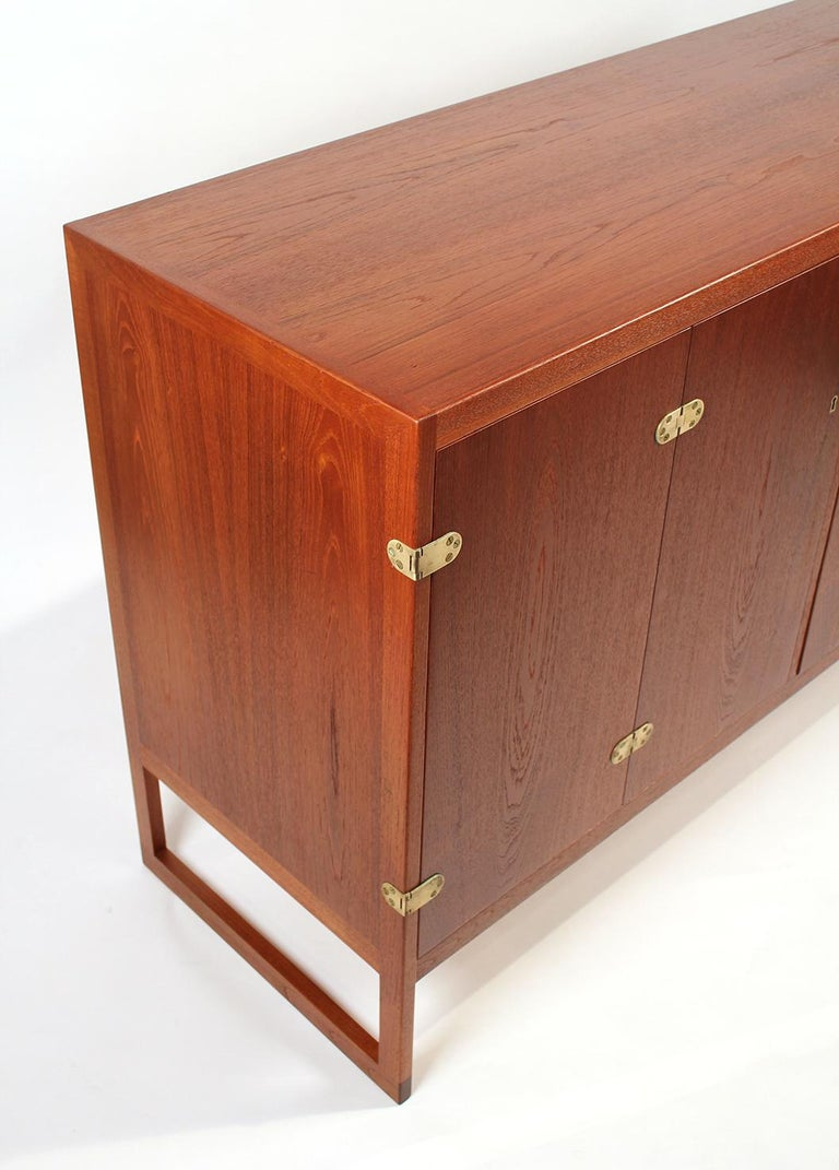 20th Century Scandinavian Modern Teak Cabinet with Brass Hinges Designed by Borge Mogensen For Sale