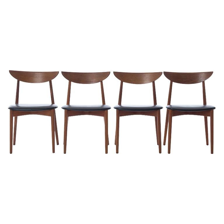 Scandinavian Modern Teak Dining Chairs Set of 4 Harry Ostergaard Design