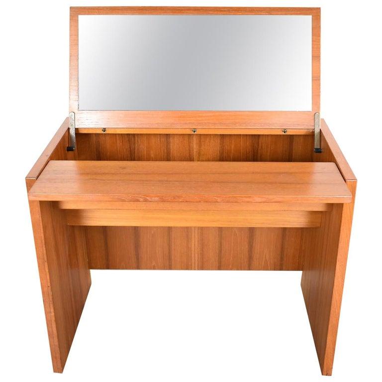Scandinavian Modern Teak Flip Open Make Up Vanity w/ Mirror Jesper International For Sale