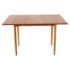 Scandinavian Modern Teak Flip-Top Dining Game Table