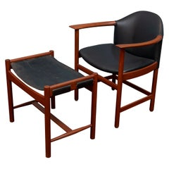 Scandinavian Modern Teak Leather Armchair and Ottoman