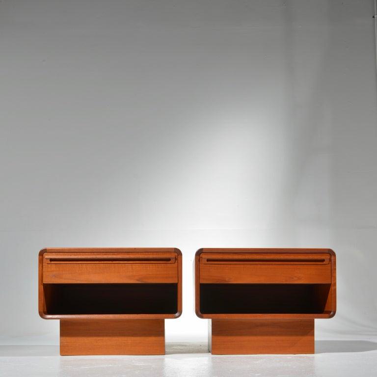 Danish Scandinavian Modern Teak Nightstands with Storage Drawers For Sale