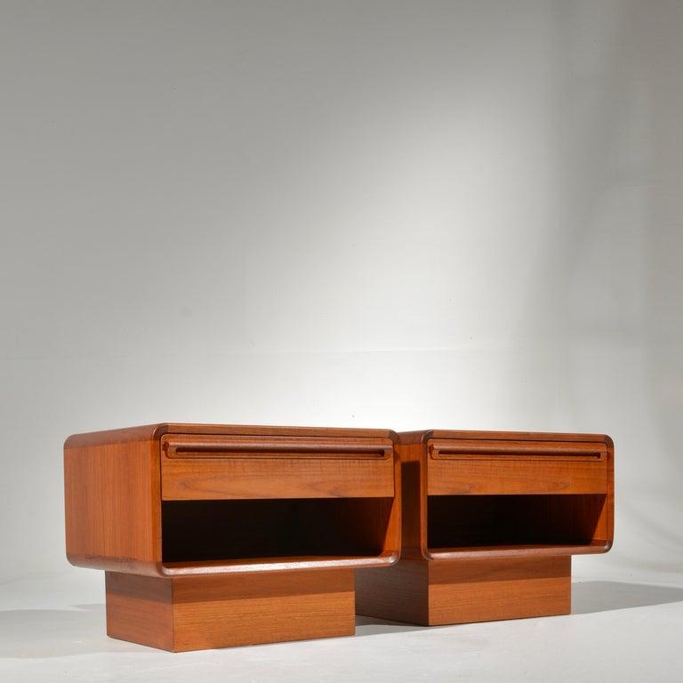 Mid-20th Century Scandinavian Modern Teak Nightstands with Storage Drawers For Sale