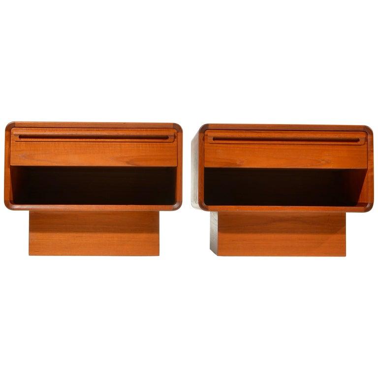 Scandinavian Modern Teak Nightstands with Storage Drawers For Sale