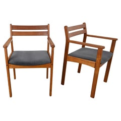 Scandinavian Modern Teak Pair of Armchairs with Brushed Charcoal Fabric Seats