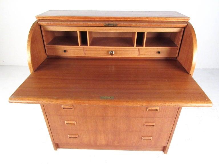 20th Century Scandinavian Modern Teak Roll Top Desk For Sale
