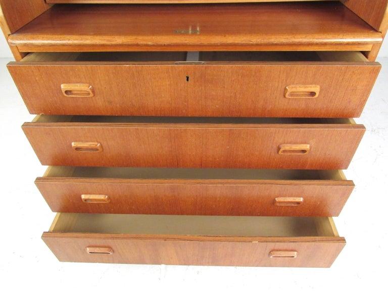 Scandinavian Modern Teak Roll Top Desk For Sale 1