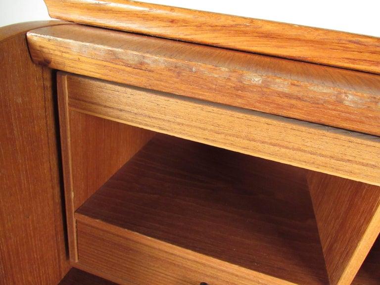 Scandinavian Modern Teak Roll Top Desk For Sale 3