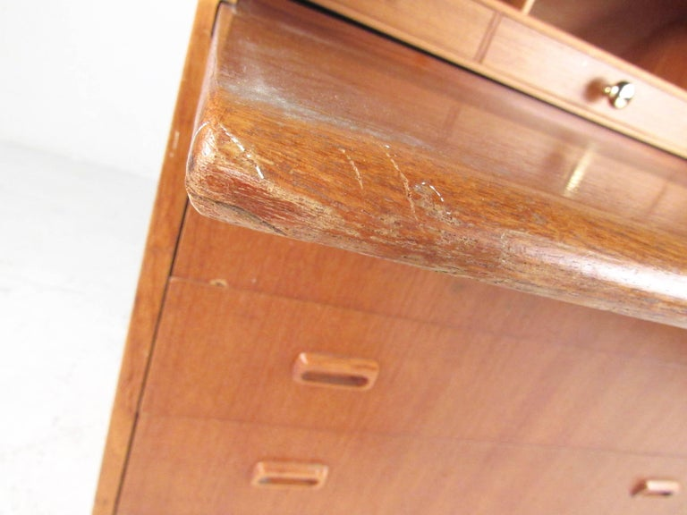 Scandinavian Modern Teak Roll Top Desk For Sale 5