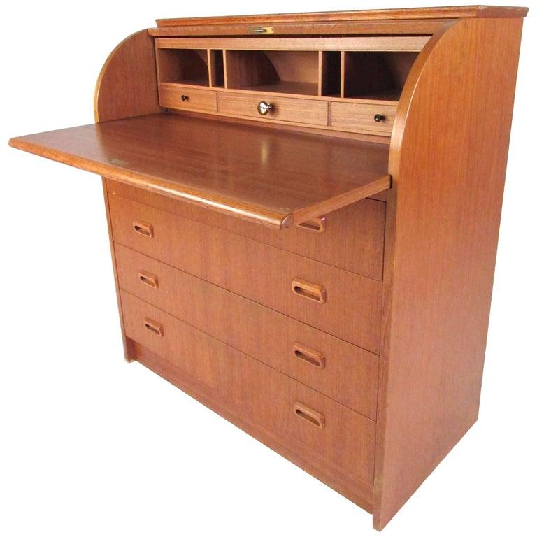 Scandinavian Modern Teak Roll Top Desk For Sale