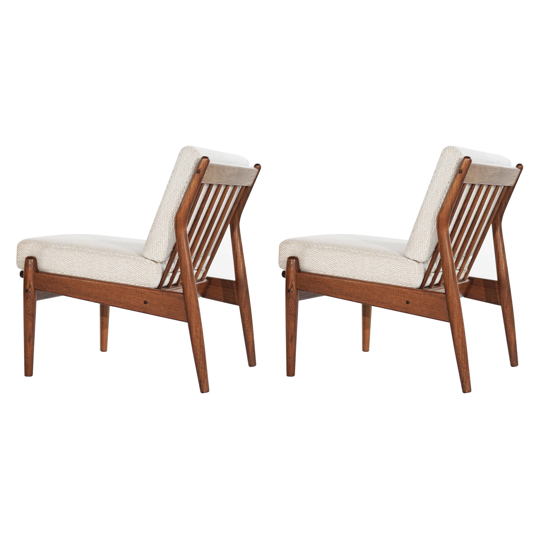 Scandinavian Modern Teak Slipper Chairs, 1950s