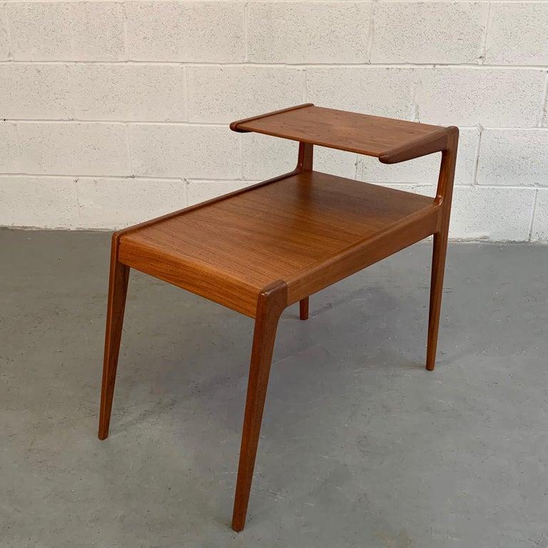 Scandinavian Modern Teak Stepped Side Table For Sale 2