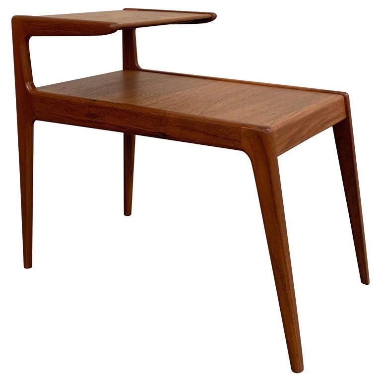 Scandinavian Modern Teak Stepped Side Table For Sale